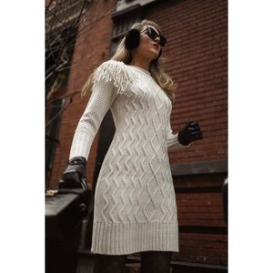 Eliza J Ivory Cable Knit Fringe Sweater Dress NWT